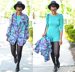 Sushanna M. - Thrifted Vintage Neon Floral Blazer, Thrifted Vintage Men's Black Cap Toe Oxfords - Vaporwave