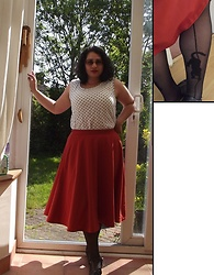 Selina M - Vintage Sale Polka Dot Top, Steady Clothing Orange Skirt, Camden Market Cat Tights - This week