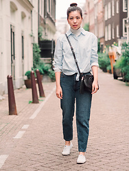 Vivian Tse - H&M Blouse, Primark Turtleneck, Gucci Bag, Pull & Bear Mom Jeans, Keds Sneakers - Mom jeans