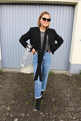 Anna Borisovna - Le Specs Sunglasses, Mango Blazer, H&M Shirt, H&M Jeans, Zara Shoes, Mango Bag - Cat Eye