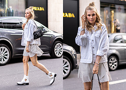 Sunnyinga - Pull & Bear Denim Jacket, Missguided Summer Dress, Bag, Sacha Shoes Cut Out Boots - White Denim Streetstyle Summer Look