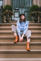 Sami Mauskopf - & Other Stories Ruffled Top, Zara Checkered Pants, Mango Patent Faux Leather Boots, Brixton Fisherman Hat - Chic in Spring