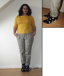 Selina M - Dancing Days By Banned Bow Sleeve Top, Urban Outfitters Checked Trousers, Lola Ramona Heeled Boots - And it was all yellow