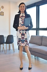 Natalie Lim - Cue City Black Revere Collar Blazer, Cue Satin Floral Racer Neck Dress, Nine West Ninewest 'Mailin' Heeled Point Toe Pumps - OOTD: week 2 - Every open house, every week – in iconic, unm