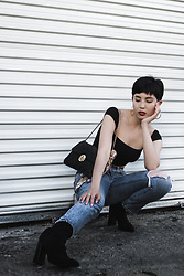 Samantha Mariko - Are You Am I Top, Levi's® Jeans, Public Desire Boots, Metrocity Bag - Are You Am I