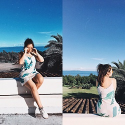 Joyce Wang - New Look Palm Leaf Print Cami Dress, H&M White Trainers - Hey summer!