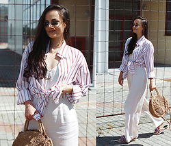 Ann Kos - Tosave Straw Bag, Zaful Sunglasses, Zaful Earrings - TOSAVE: STRAW BAG