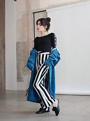 Frankie Miles - Jaded London Body, Gestuz Jeans Coat, Bik Bok Striped Flared Pants, Steve Madden Slippers - Studio
