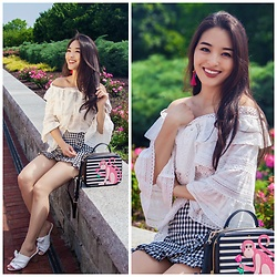 Kimberly Kong - Chicwish Off The Shoulder Top, Chicwish Gingham Skort, Nine West Knotted Sandals - The Girly Crop Top You Never Knew You Needed