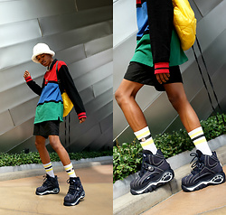 Dominic Grizzelle - Lazy Oaf Colorblock Tee, Buffalo London Flatforms, Kangol Fuzzy Bucket Hat - Monday Funday