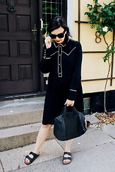 Emma M. - Monki Western Dress, Alexander Wang Rocco Bag, Birkenstock Arizona Birkenstocks - Western Dress