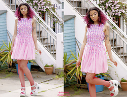 Shady Kleo - Asos Pink Flower Embellished Dress, Demonia Silver Flatforms - NaughtyCool - Second Look