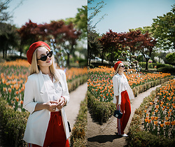 Olga Choi - Le Specs Extreme Cat Eye Sunglasses, Furla Metropolis Bag - Work appropriate spring outfit