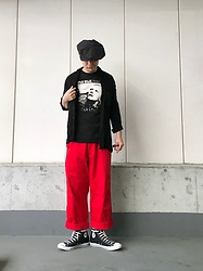★masaki★ - New York Hat Bigapple, Ch. Linen Shirts, David Bowie Hunky Dory, Comme Des Garçons Worker'spants, Converse Hi - Hunky  Dory : Black&Red