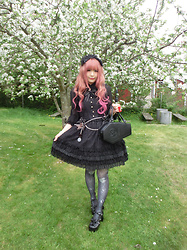 Melva Yan - Baby,The Star Shine Bright Lady Victori's Afternoon Corset, Killstar Coffin Bag, Angelic Pretty Black Headdress - Lady Victori's Afternoon Corset