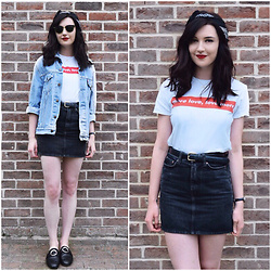 Kayleigh B - Urban Outfitters Tee, Weekday Denim Skirt, Monki Shoes - Comfortably Numb
