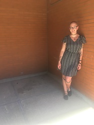 Ashlee Fairy Face - Old Navy Dress, Toms - Stripes and Sunshine