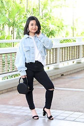 Kristen Tanabe - Topshop Cropped Denim Jacket, Topshop Ripped Black Jeans, Forever 21 White Tee, A New Day Round Purse, Jeffrey Campbell Shoes Rhinestone Black Heels, Baublebar Statement Earrings - New Hair, New Look