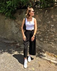 Marion Style - Forever 21 Top, Zara Jupe Culotte, Pull & Bear Banane, Vogue Gigi Hadid Collection - Black & white