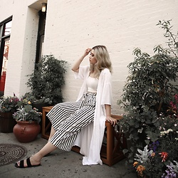 Ingrid Siadari - Shein Crop Top, Zara Striped Culottes, H&M Cover Up, Necessary Clothing Sandals - IG: @INGRIDLIKESYOU