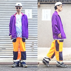 @KiD - Rvca Marble Cap, Nvrmnd Phychederic Tee, Vintage Fireman Pants, Camper Bernhard Willherm - JapaneseTrash412