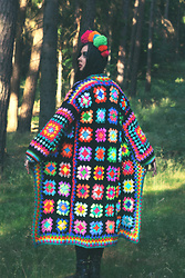 Muzzy Stardust - Fantasia Superstar Rainbow Psychedelic Granny Square Colorful Crochet Coat. True Handmade 1970's Inspired Multicolor Hippie Afghan Coat - What dreams are made of 👁