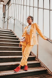 Laura Owusu - Zara Cropped Pants, Zara Double Chested Blazer, Puma Pink Sneakers, Light In The Box Mini Purse - Girlboss suit