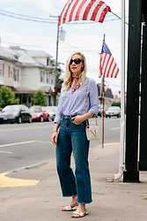 Meagan Brandon - Striped Shirt, Bandana Scarf (Under $15), Wide Leg Jeans (On Sale), Gucci Slide Sandals - Stylish Way to Wear Red, White & Blue