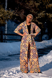Louisa Moje - Round Clear Glasses (Similar), African Print Kimono, African Print Palazzo Pants, Black Classic Pumps (Similar) - Sultry African Print Kimono Set