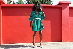 Samjah Iman -  - 70s Vintage Teal Dress