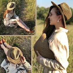 Alina Feminudity - Zara Straw Hat, H&M Loafers, Ray Ban Aviators, Feminudity Pearl Earrings - Catcher in the Rye