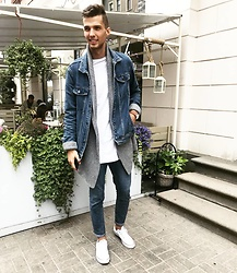 Uldis Antons - Converse Sneakers, Zara Jeans, Zara Cardigan, H&M Denim Jacket, Aldo Watch, H&M Shirt - Denim dream.