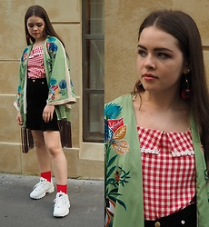 Siri ♧ - Zara Floral Piece, Ank Rouge Gingham Top, Monki Black Skirt, Monki Red Socks, Fila Disruptor Trainers, Wego Cherry Earrings - Floral