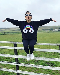 Karen Cardiel - Pay'S Rainbow Sweater, Must Concept Store White Oval Sunglasses, Forever 21 Black Cotton Leggings, Nike Air Force 1 - Are you really happy? Yes | No ... you decide :)