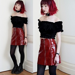 Lea B. - Bershka Top, Bershka Skirt, Dr. Martens Shoes - Red Vinyl