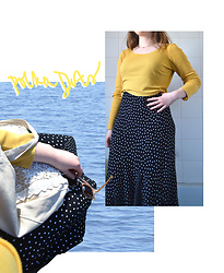 Jasmine - Charity Shop Polka Dot Dress, New Look Yellow Crop Top, Accessorize Retro Style Sunglasses, Miss Patina Tote Bag - Yellow + Polka Dots
