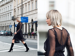 MONIKA S - Flowing Silk Dress, Suede High Heel Boots, Leather Clutch With Chain - FLOWING SILK DRESS