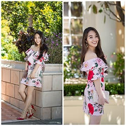 Kimberly Kong - Asos Floral Off The Shoulder Dress - Feeling Fancy in my New Statement Dress