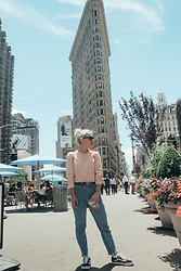 Saule S - Asos Cat Eye Shades, Missguided Pale Pink Cropped Sweater, H&M High Waited Vintage Denim, Vans Classics, H&M Belt - NYC you're my fave everything
