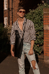Georg Mallner - Mango Shirt, Bershka Jeans, Asos Bag, Zerouv Sunglasses - July 12, 2018