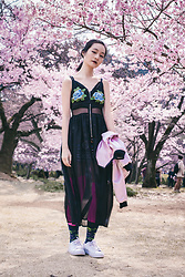Ren Rong - Gamiss Floral Bra, Cndirect Dress, Rocket X Lunch Reversible Bomber Jacket, We Love Colors Socks, Topman Socks, Paper Planes Sneakers, Shein Skirt - Shinjuku Blooms