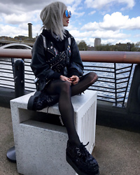 Kimi Peri - Vii & Co. Vegan Leather Jacket, T.U.K. Footwear Sequin Triple Sole Creepers, Black Tights, Killstar Hexellent Waist Bag, You Are My Poison Blue Glasses - Battersea
