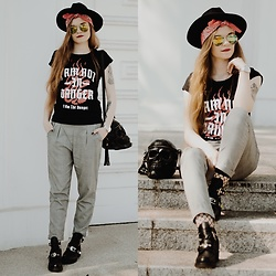 Karolina N. - Zaful Fedora Hat, Cropp T Shirt, Stradivarius Checked Pants, Boots, Killstar Skull Bag - CHECKED PANTS - GRUNGE LOOK