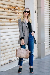 Meagan Brandon - Saint Laurent Sunglasses, Plaid Blazer (On Sale Under $100!), Lace Camisole, Levi's Jeans (On Sale Under $65!), Brahmin Satchel, Vince Mules (On Sale!) - A Plaid Blazer to Wear Now & Later