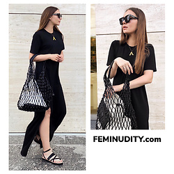 Alina Feminudity - H&M Fishnet Bag, Asos Dress, H&M Sandals, Céline Sunglasses, Céline Necklace - Summer Black