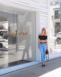 Katie Van Daalen Wetters - Zaful Off The Shoulder, Re/Done Vintage Denim, Raye Bow Tie Sandals, Saint Laurent Sac De Jour Nano - The Crossover Shirred Off Shoulder Top