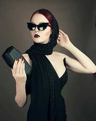 Charlotte S. - La Femme En Noir Vamp Batwing Cat Eye Sunglasses, Cut And Sewed Atelier Pointy Sweetheart Pencil Dress, Handmade Black Pearls Scarf - Bat Attack