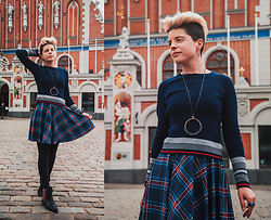 Carolyn W - Vipshop Blue, Black Milk Clothing Tartan, Charming Charlie Simple, Black & Red - Worn in Riga