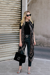 Meagan Brandon - Bodysuit, Similar Leopard Scarf, Gucci Belt, High Waist Jeans (Under $50), Gucci Bag, Mules - Pop of Leopard Print