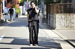 Hideki. Mn - Minus Mock Neck Pleats N/S, Minus Square Wallet Chain, Syu.Homme / Femm Skater Pants Wide - Japanese fashion 89